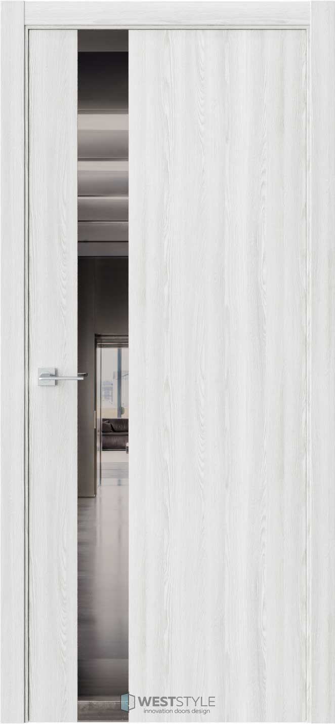 Межкомнатная дверь АЛЬФА Клён Айс стекло-зеркало