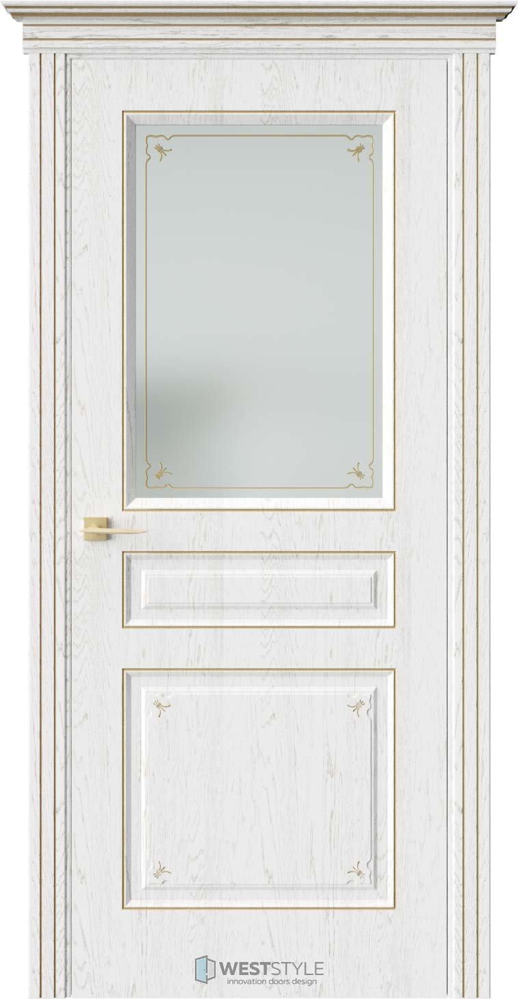 Межкомнатная дверь АМПИР Дуб Винта стекло