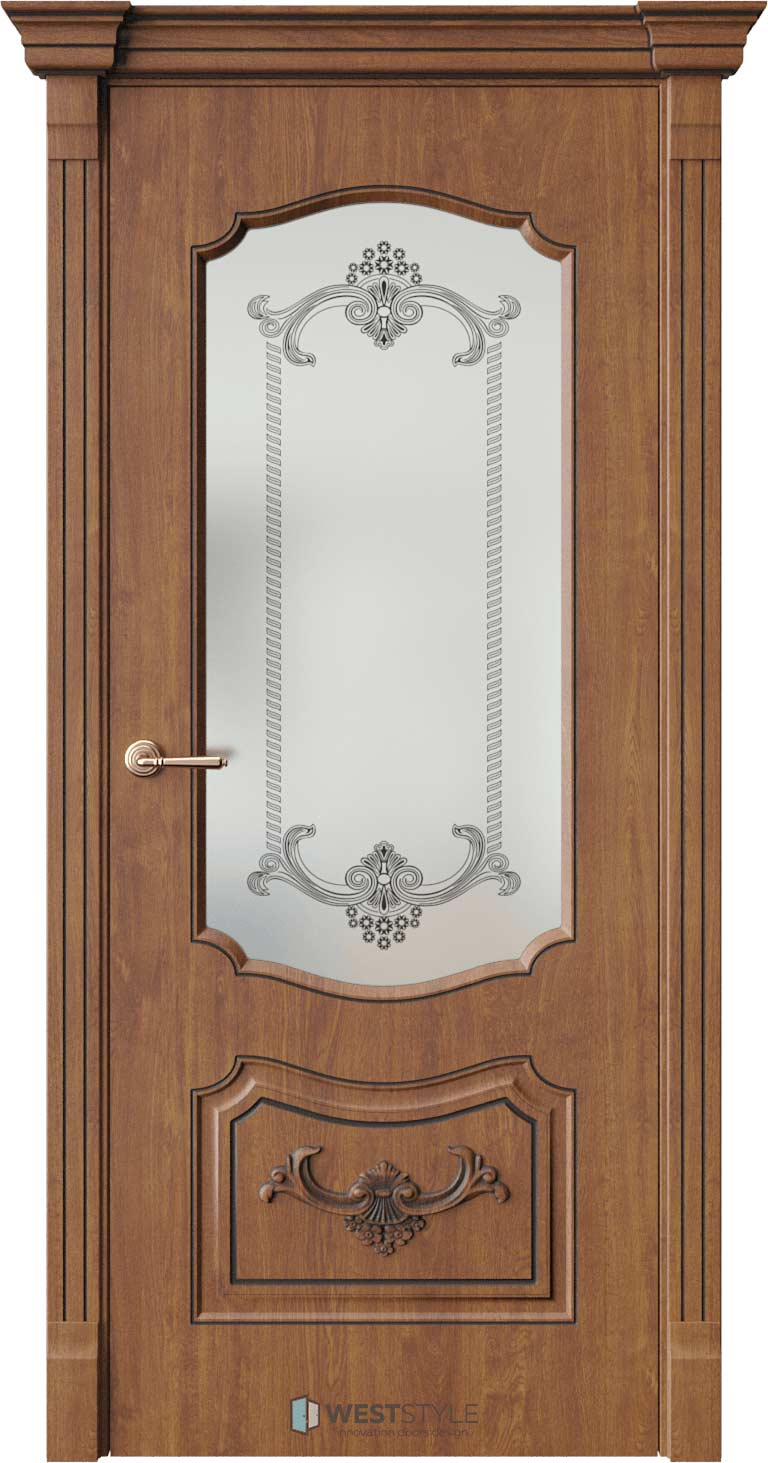 Межкомнатная дверь Межкомнатная дверь Bogacho Мирелла Золотой дуб стекло