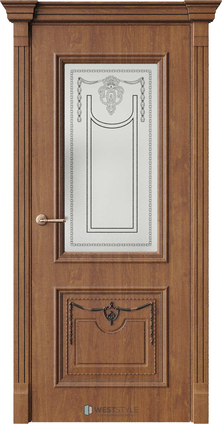 Межкомнатная дверь Межкомнатная дверь Bogacho Новара Золотой дуб стекло