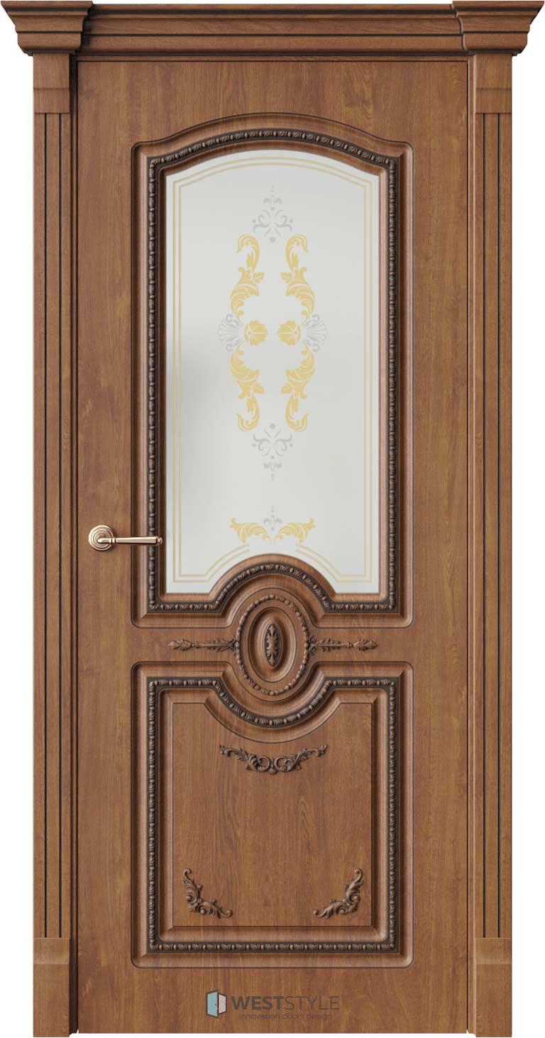 Межкомнатная дверь Межкомнатная дверь Bogacho Цезарь Золотой дуб стекло