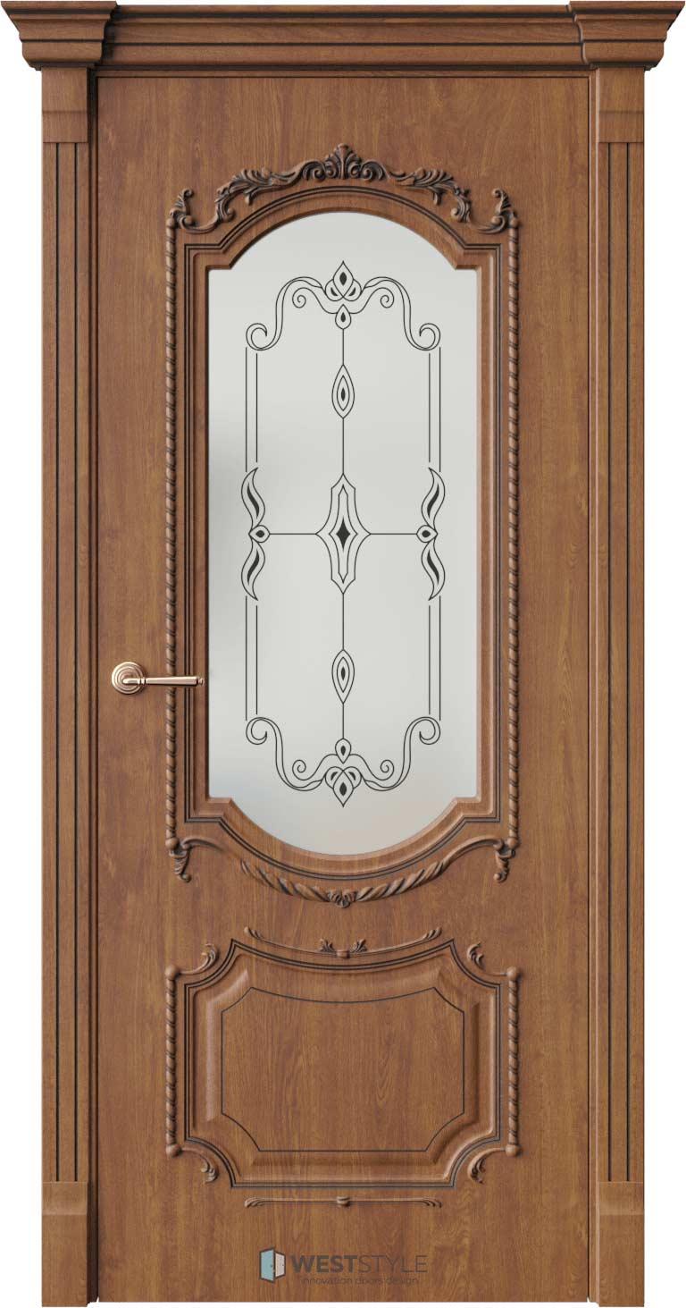 Межкомнатная дверь Межкомнатная дверь Bogacho Винченцо Золотой дуб стекло