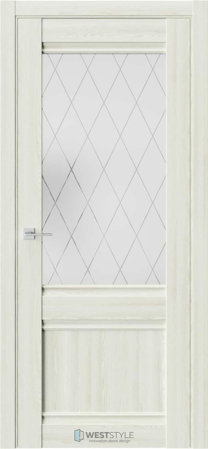Межкомнатная дверь ChE 6 Клён Крем стекло 2