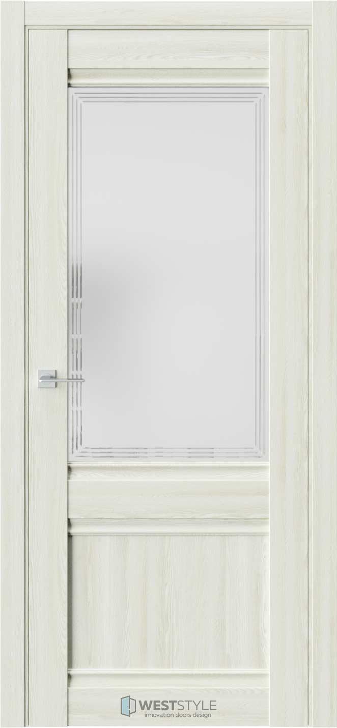 Межкомнатная дверь ChE 6 Клён Крем стекло 4