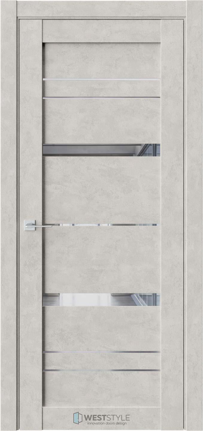 Межкомнатная дверь CZ 2 Бетон Смоки стекло-зеркало графит