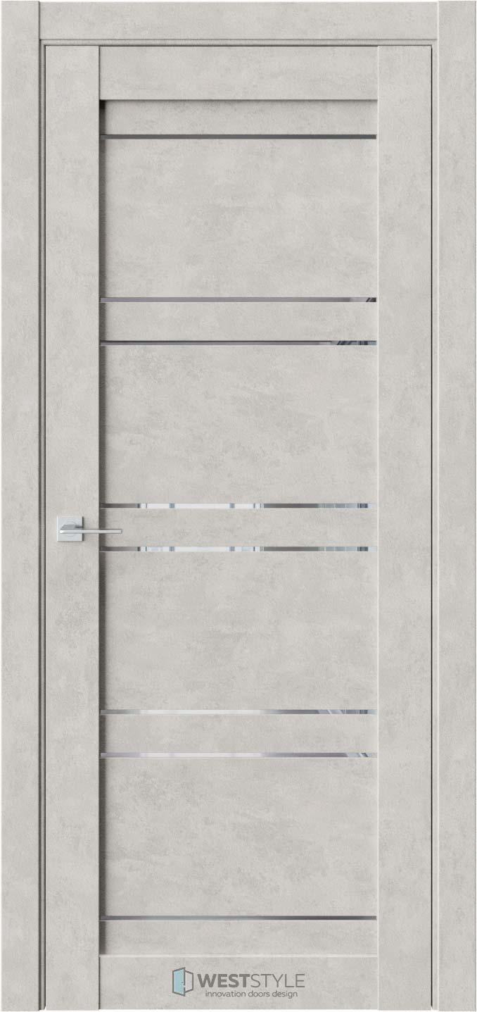 Межкомнатная дверь CZ 3 Бетон Смоки стекло-зеркало графит