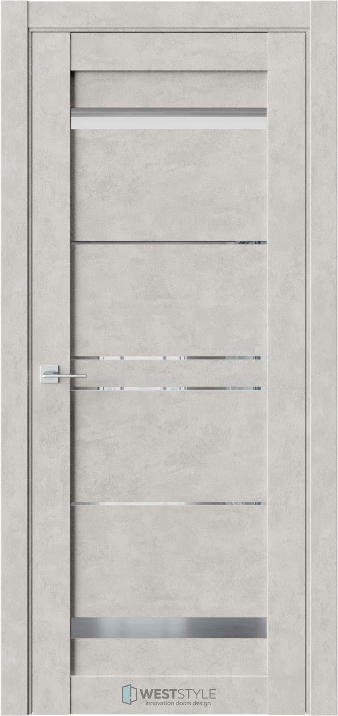 Межкомнатная дверь CZ 4 Бетон Смоки стекло-зеркало графит