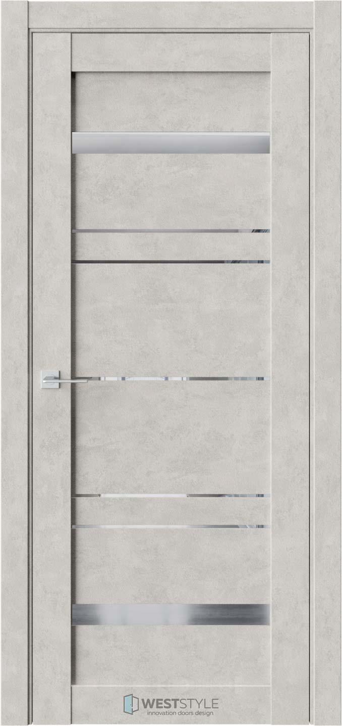 Межкомнатная дверь CZ 5 Бетон Смоки стекло-зеркало графит
