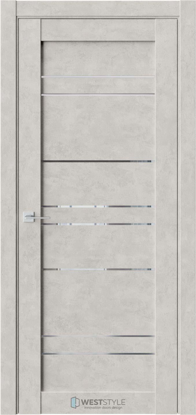 Межкомнатная дверь CZ 6 Бетон Смоки стекло-зеркало графит