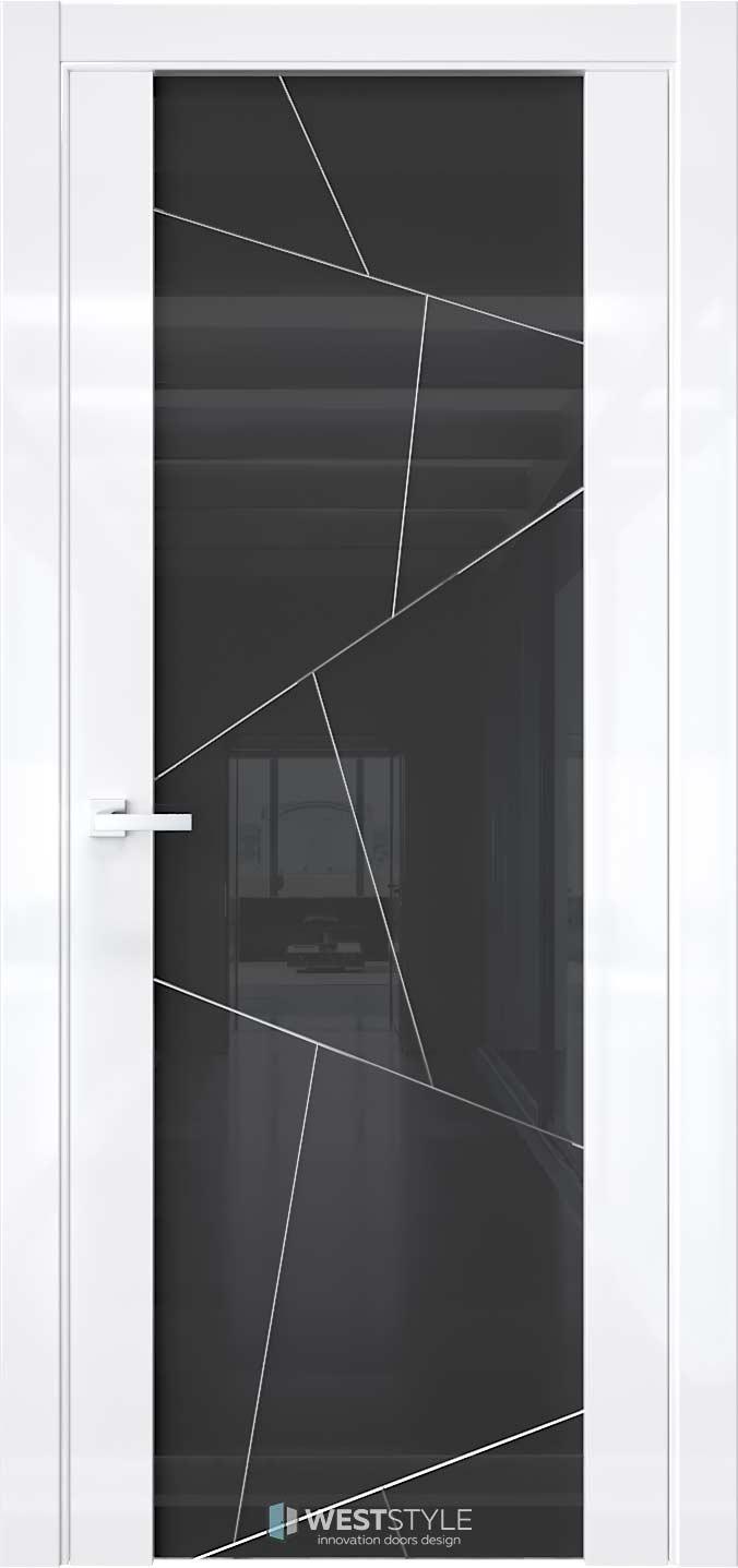 Межкомнатная дверь E7 Белый глянец черное стекло P4