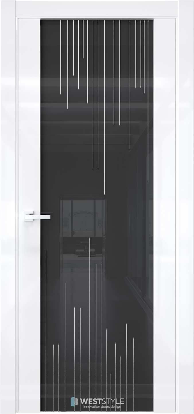 Межкомнатная дверь E7 Белый глянец черное стекло P5