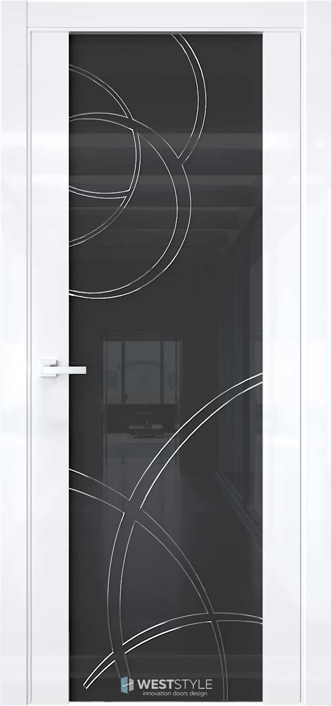 Межкомнатная дверь E7 Белый глянец черное стекло P6
