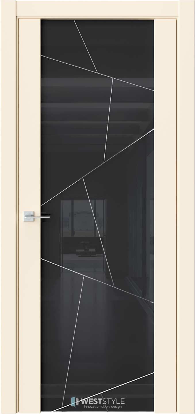 Межкомнатная дверь E7 Emlayer бежевый черное стекло P4