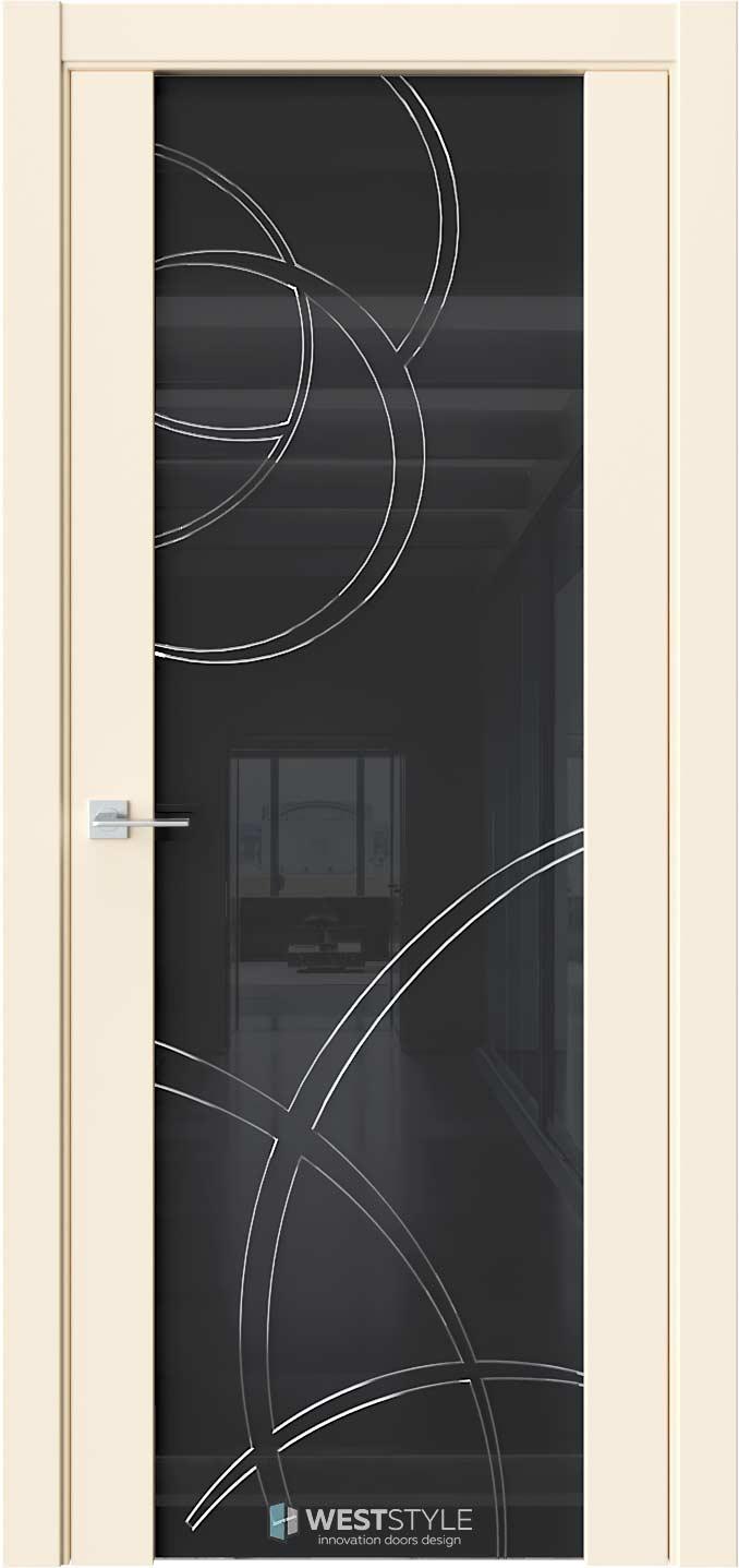 Межкомнатная дверь E7 Emlayer бежевый черное стекло P6