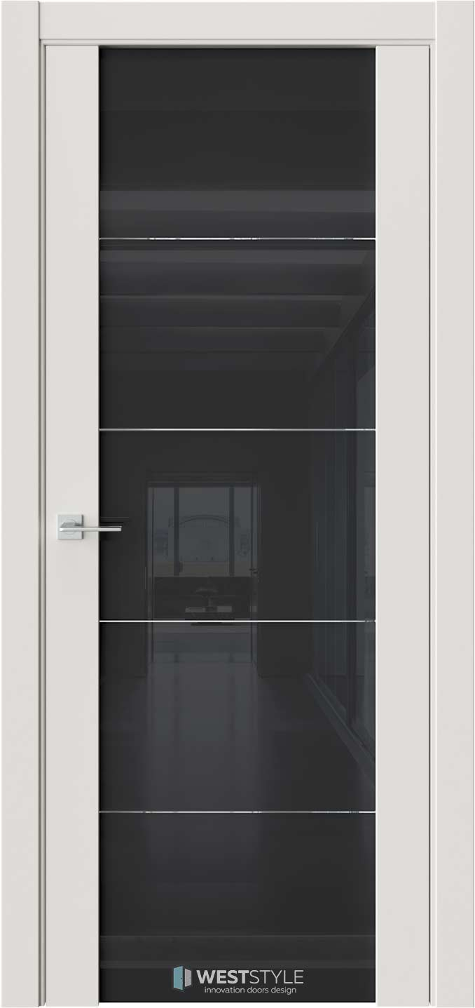 Межкомнатная дверь E7 Emlayer серый черное стекло 1