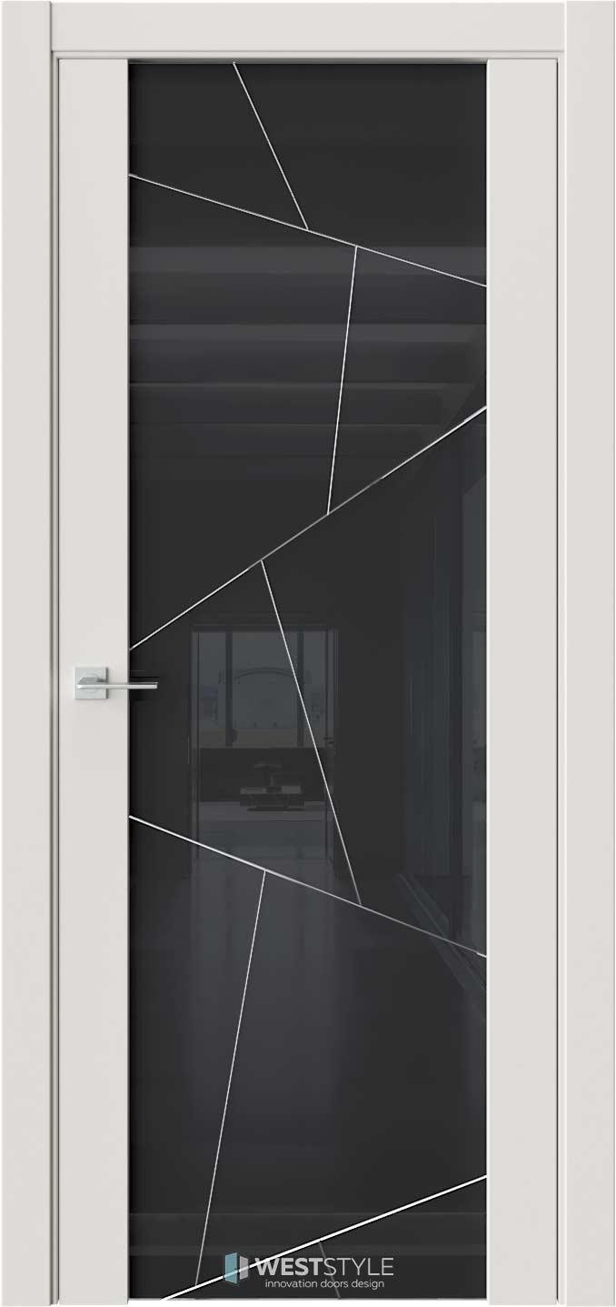 Межкомнатная дверь E7 Emlayer серый черное стекло P4