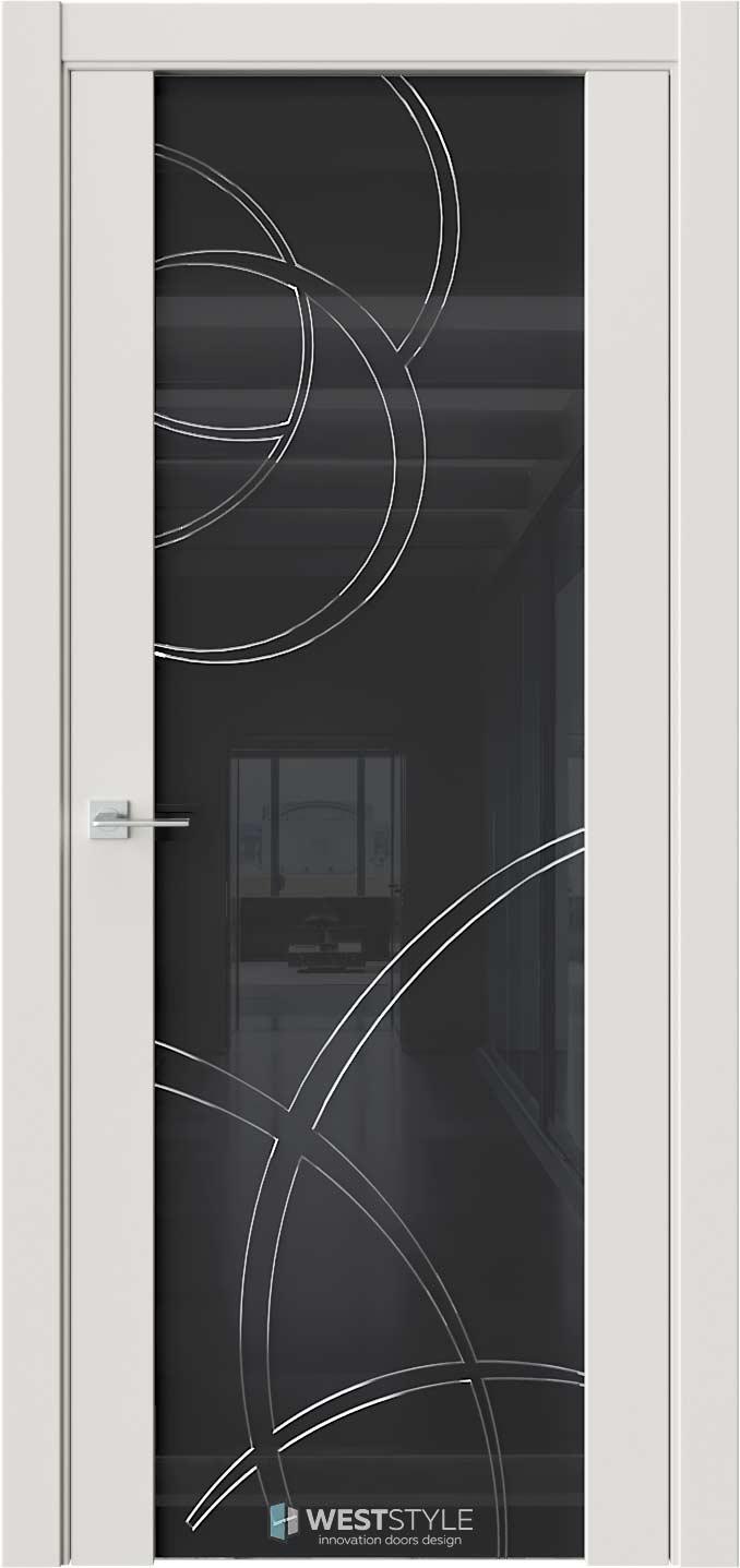 Межкомнатная дверь E7 Emlayer серый черное стекло P6