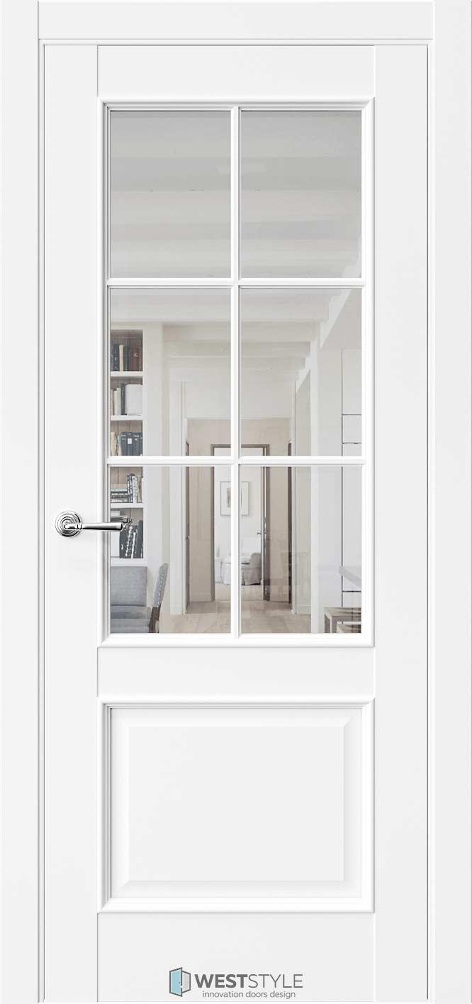 Межкомнатная дверь Межкомнатная дверь En 6 Emlayer белый стекло 2