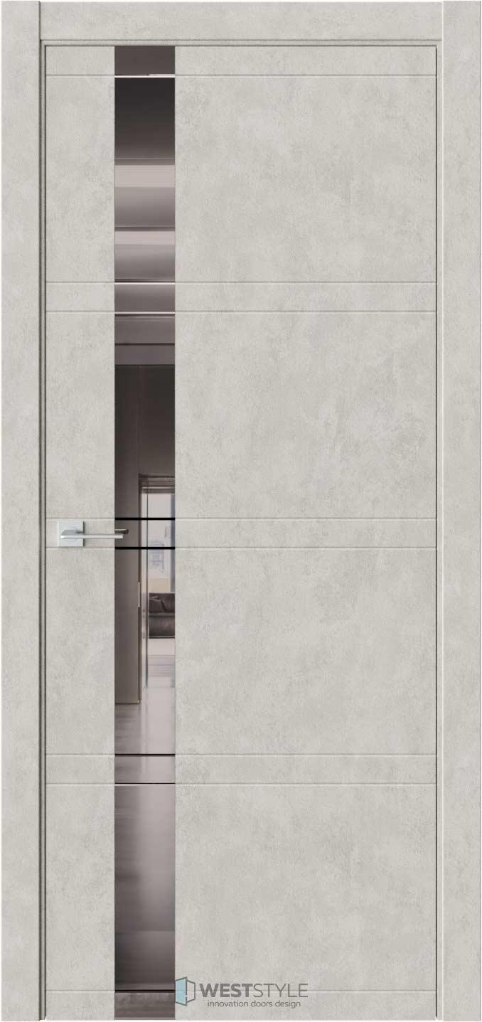 Межкомнатная дверь EVO 1 Бетон Смоки стекло-зеркало