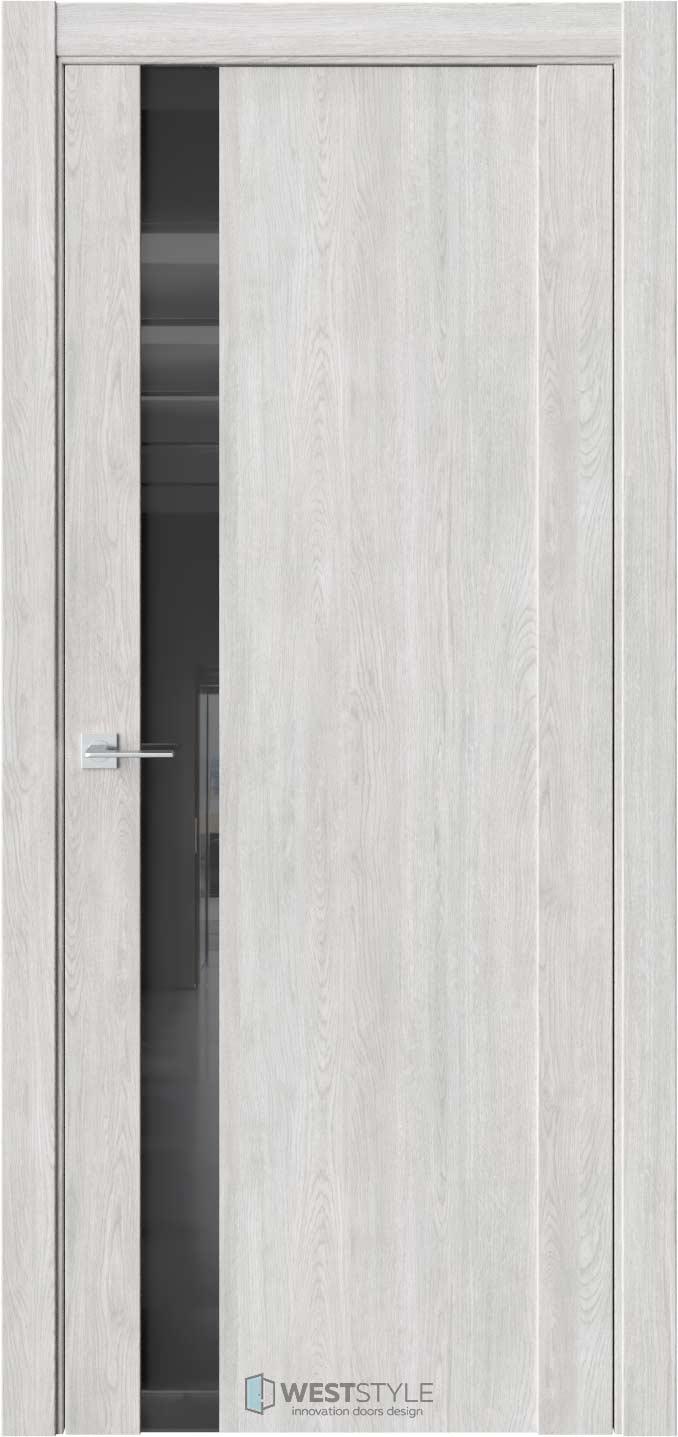 Межкомнатная дверь F 28 Дуб Оксфорд черное стекло