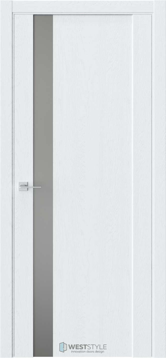 Межкомнатная дверь F 28 Дуб Сатин стекло-зеркало графит