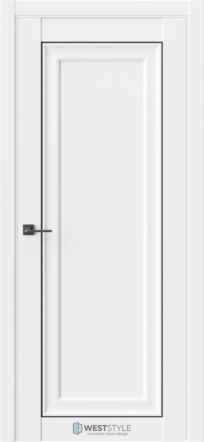 Межкомнатная дверь Межкомнатная дверь Hr 1 Emlayer белый черный молдинг