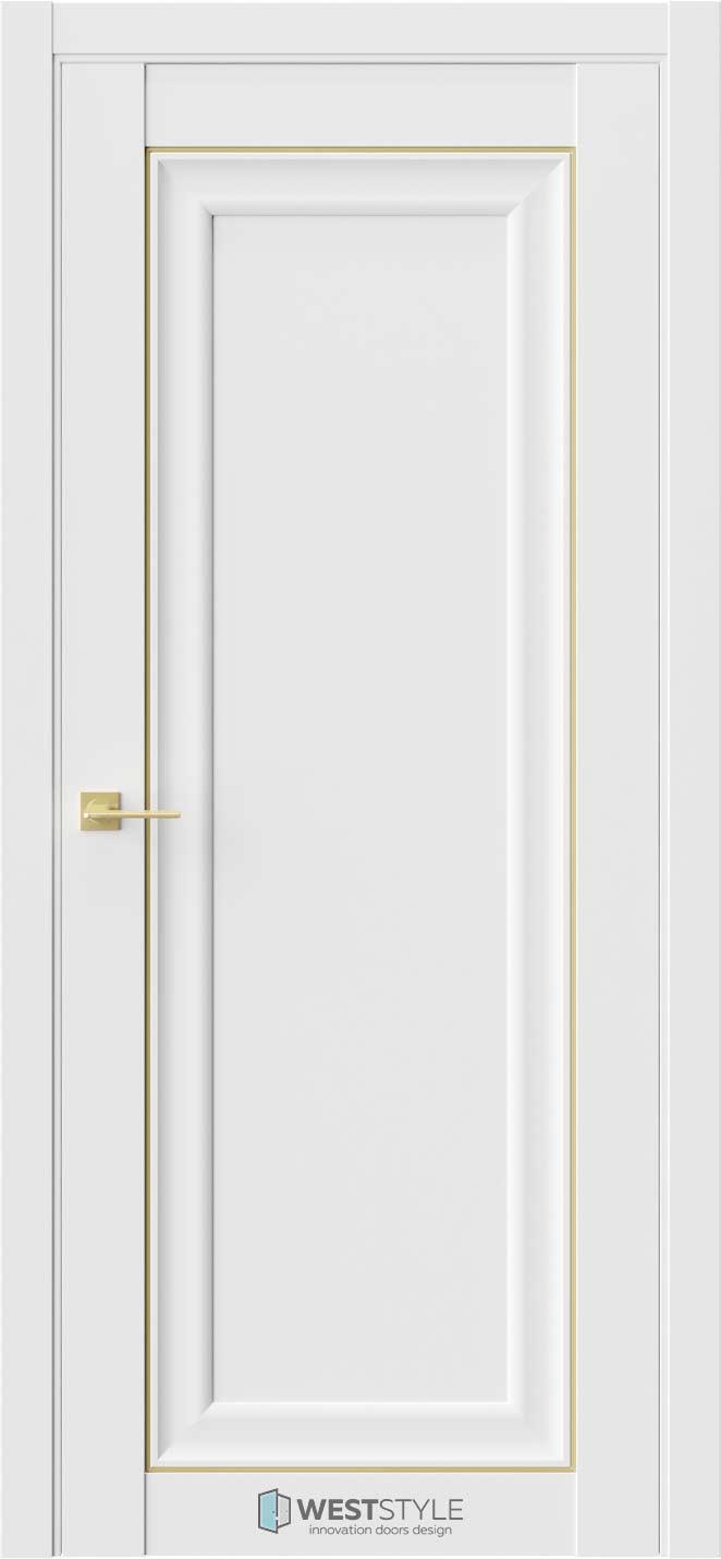 Межкомнатная дверь Межкомнатная дверь Hr 1 Emlayer белый золотой молдинг