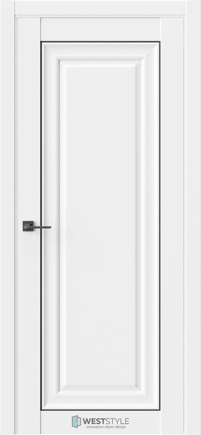 Межкомнатная дверь Межкомнатная дверь Hr 1F Emlayer белый черный молдинг
