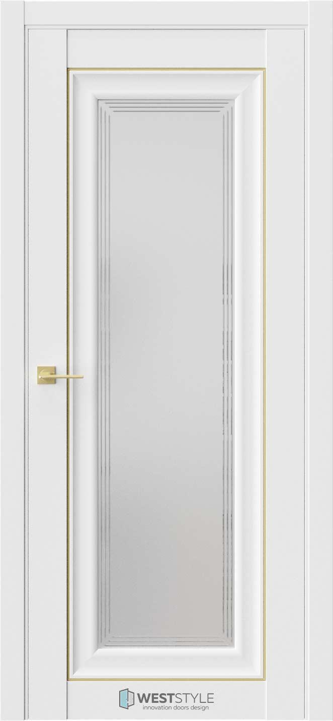 Межкомнатная дверь Межкомнатная дверь Hr 2 Emlayer белый золотой молдинг стекло