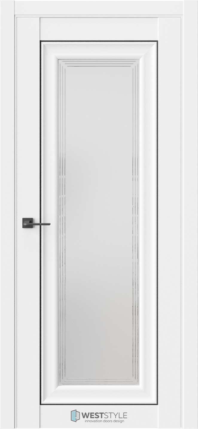 Межкомнатная дверь Межкомнатная дверь Hr 2 Emlayer белый черный молдинг стекло 1