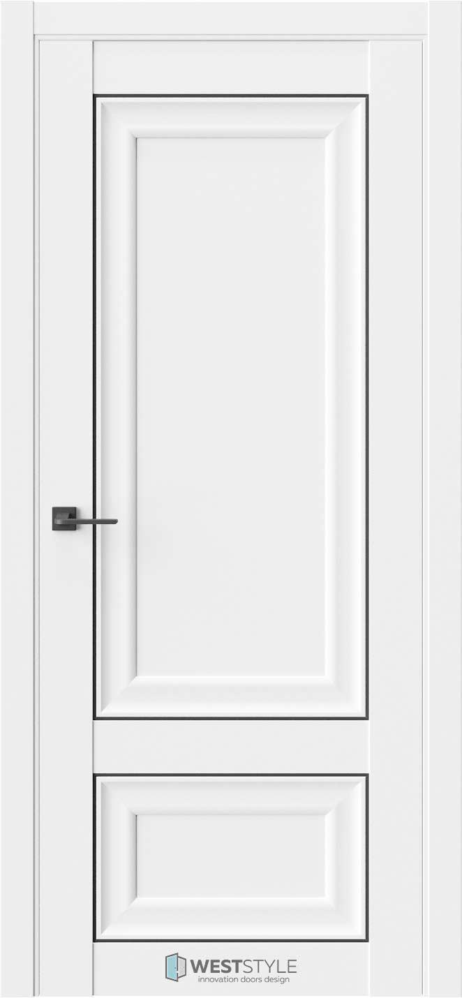 Межкомнатная дверь Межкомнатная дверь Hr 3 Emlayer белый черный молдинг