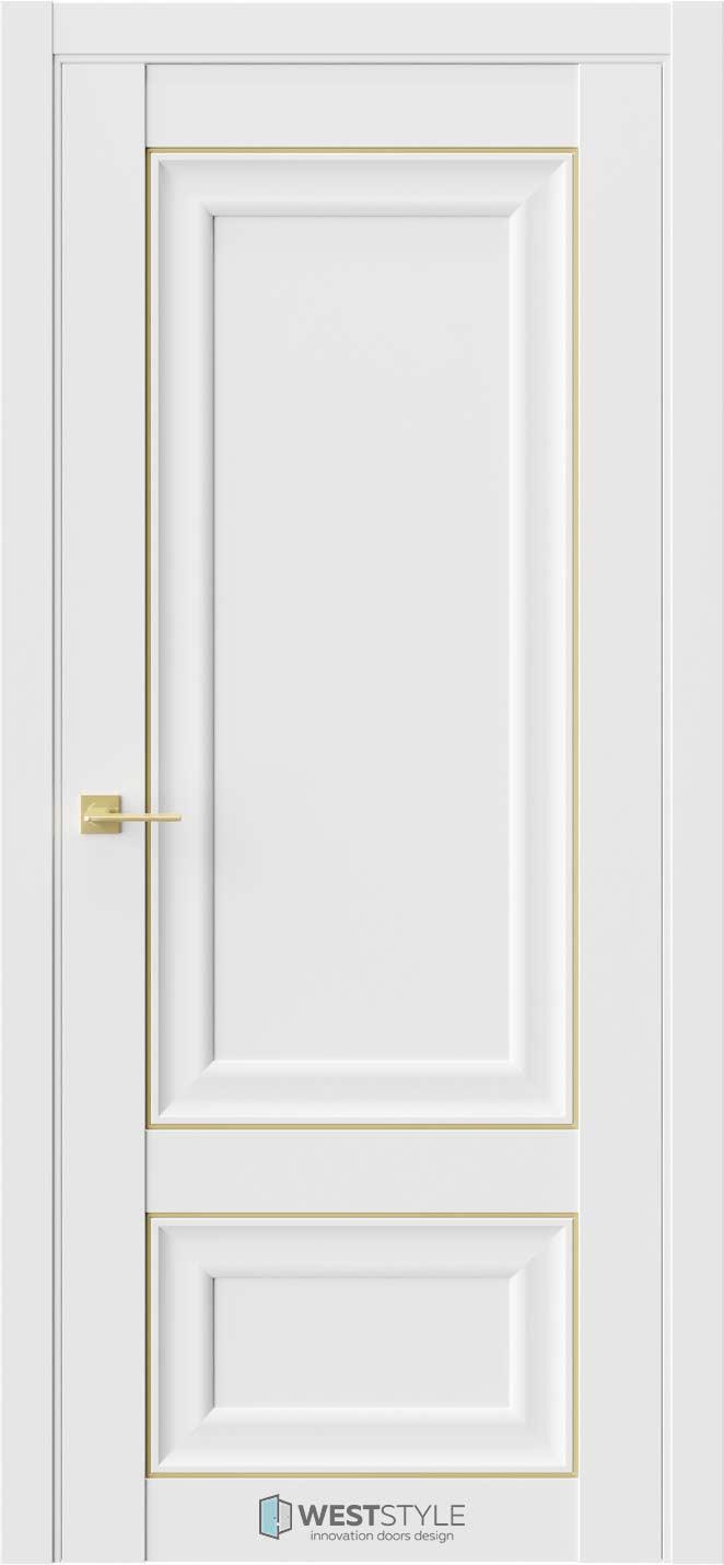 Межкомнатная дверь Межкомнатная дверь Hr 3 Emlayer белый золотой молдинг