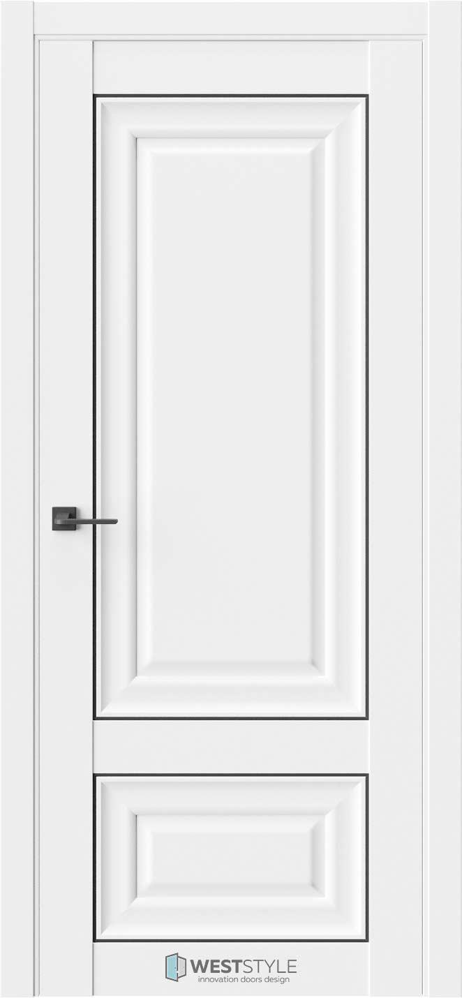 Межкомнатная дверь Межкомнатная дверь Hr 3F Emlayer белый черный молдинг