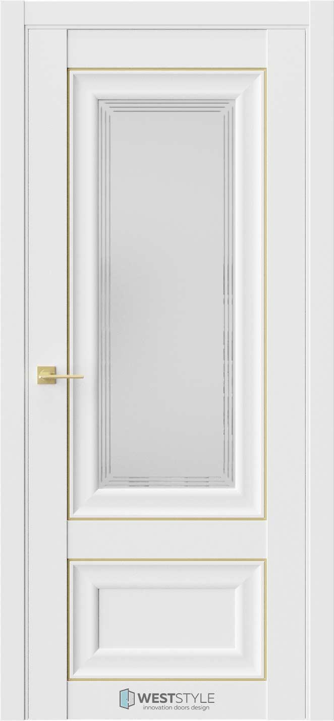Межкомнатная дверь Межкомнатная дверь Hr 4 Emlayer белый золотой молдинг стекло