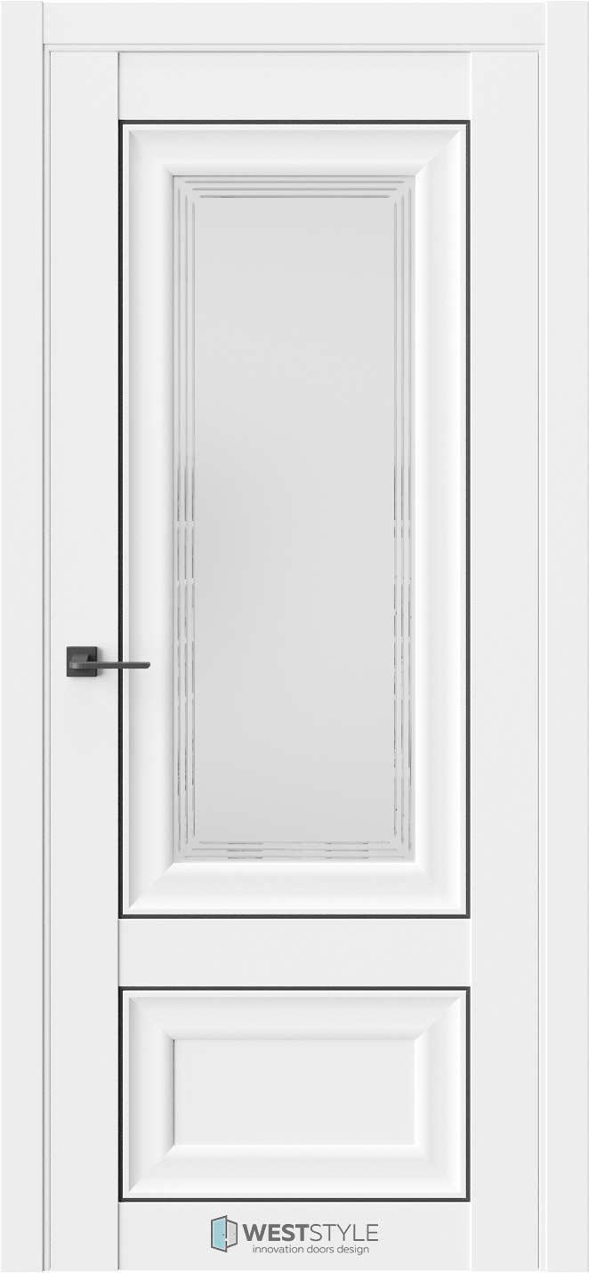 Межкомнатная дверь Межкомнатная дверь Hr 4 Emlayer белый черный молдинг стекло 1