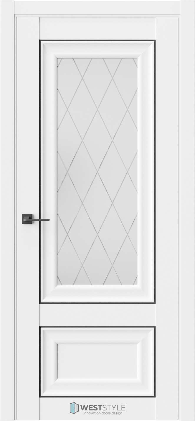 Межкомнатная дверь Межкомнатная дверь Hr 4 Emlayer белый черный молдинг стекло 2