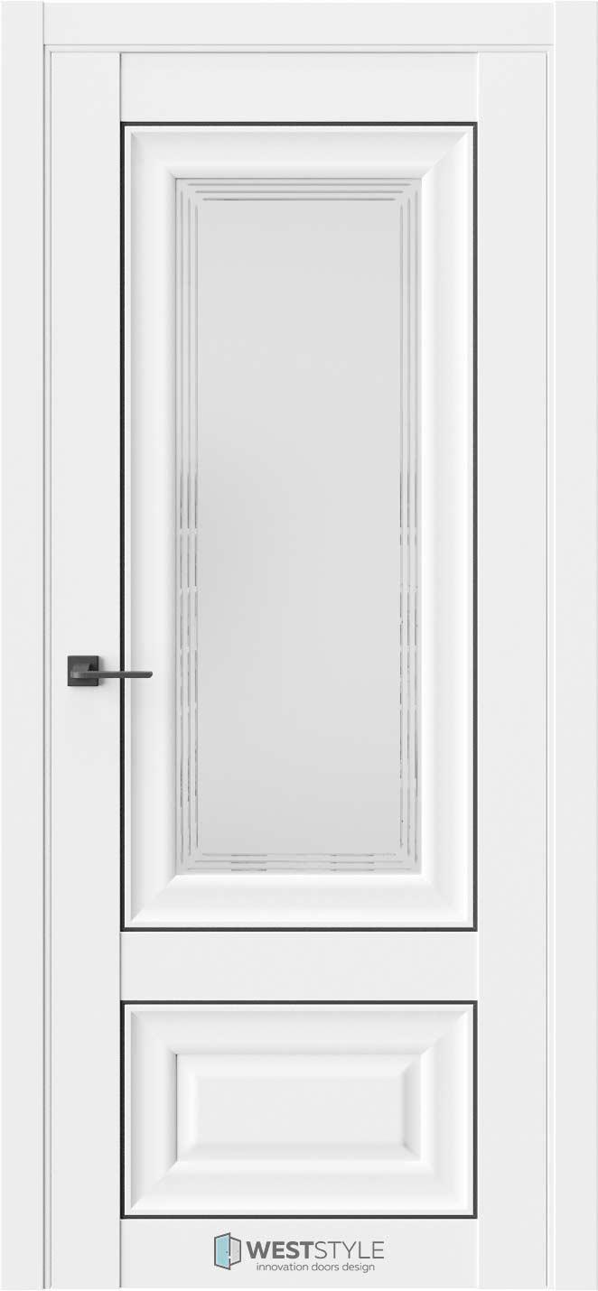 Межкомнатная дверь Межкомнатная дверь Hr 4F Emlayer белый черный молдинг стекло 1