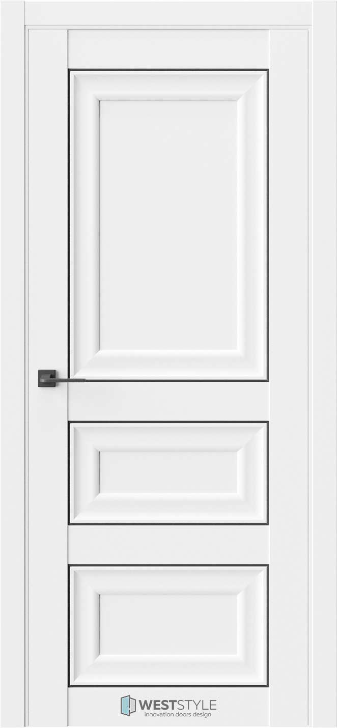 Межкомнатная дверь Межкомнатная дверь Hr 5 Emlayer белый черный молдинг