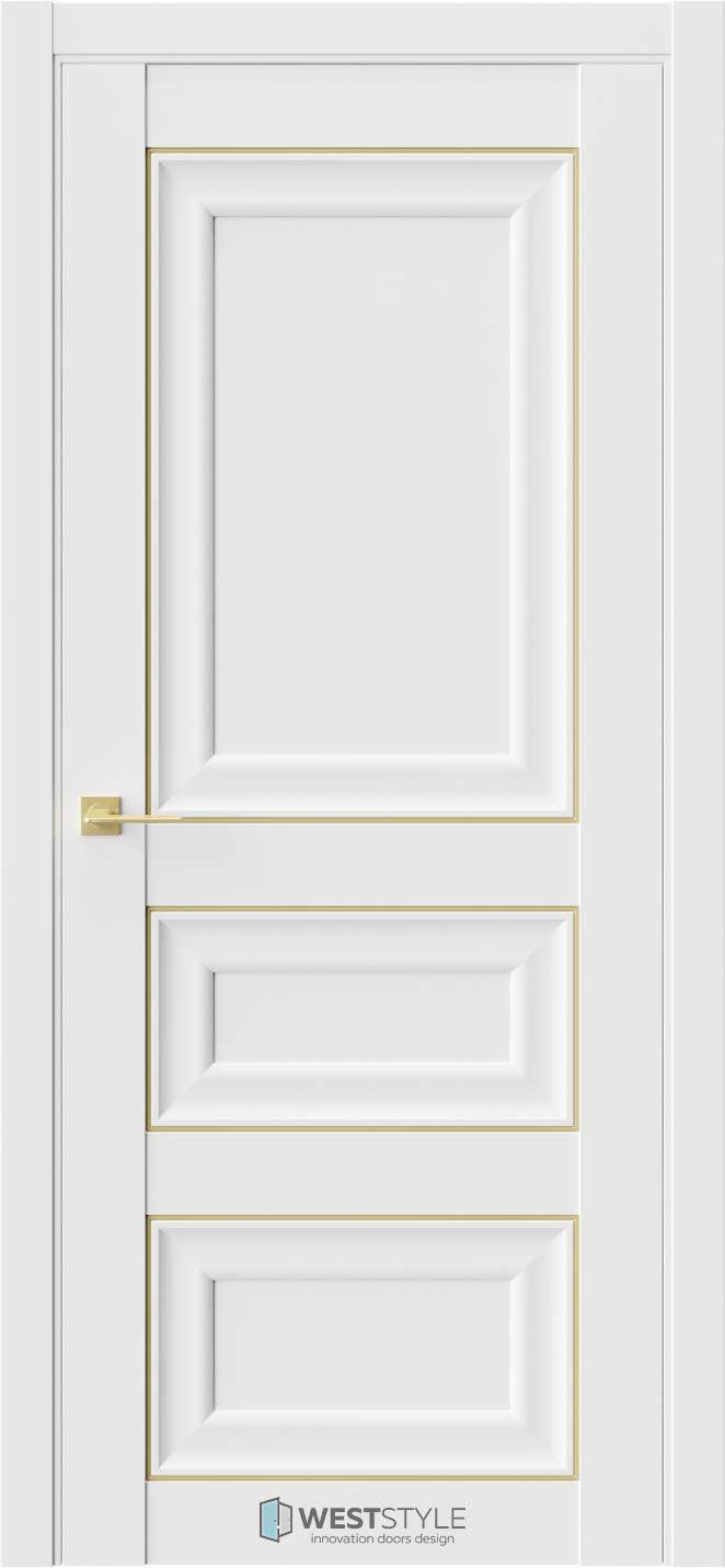 Межкомнатная дверь Межкомнатная дверь Hr 5 Emlayer белый золотой молдинг