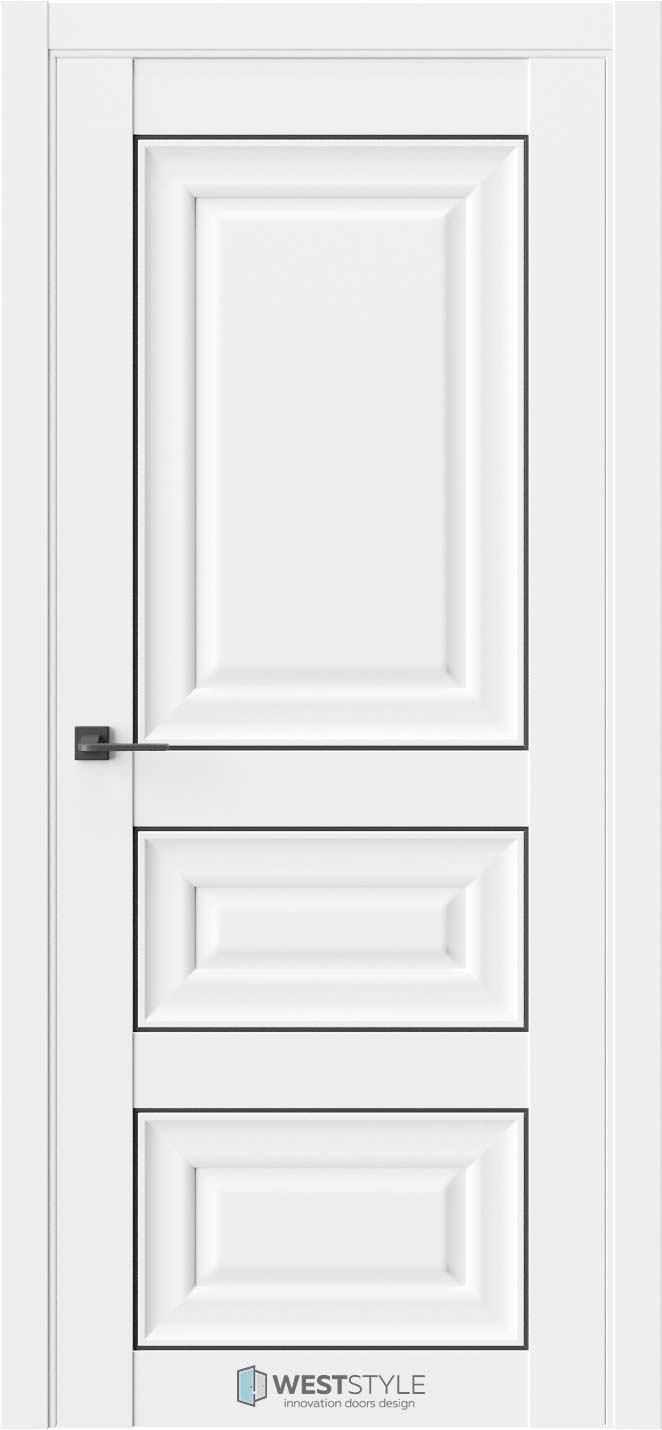 Межкомнатная дверь Межкомнатная дверь Hr 5F Emlayer белый черный молдинг