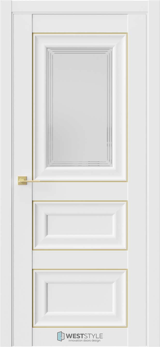 Межкомнатная дверь Межкомнатная дверь Hr 6 Emlayer белый золотой молдинг стекло