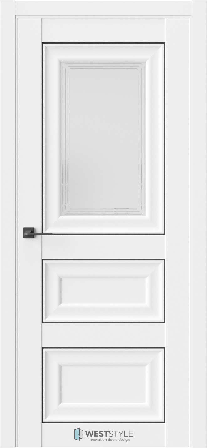 Межкомнатная дверь Межкомнатная дверь Hr 6 Emlayer белый черный молдинг стекло 1