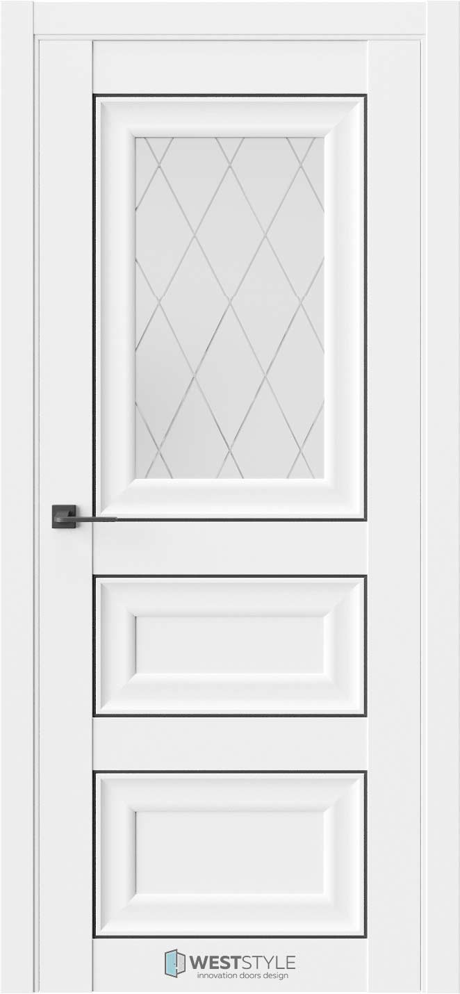Межкомнатная дверь Межкомнатная дверь Hr 6 Emlayer белый черный молдинг стекло 2