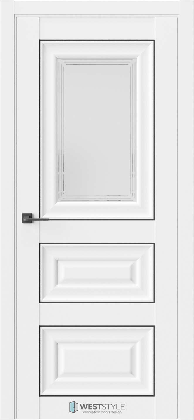 Межкомнатная дверь Межкомнатная дверь Hr 6F Emlayer белый черный молдинг стекло 1