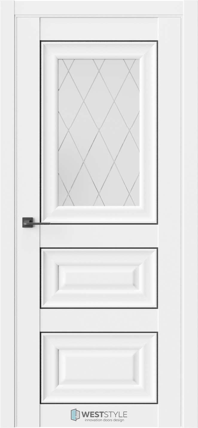 Межкомнатная дверь Межкомнатная дверь Hr 6F Emlayer белый черный молдинг стекло 2