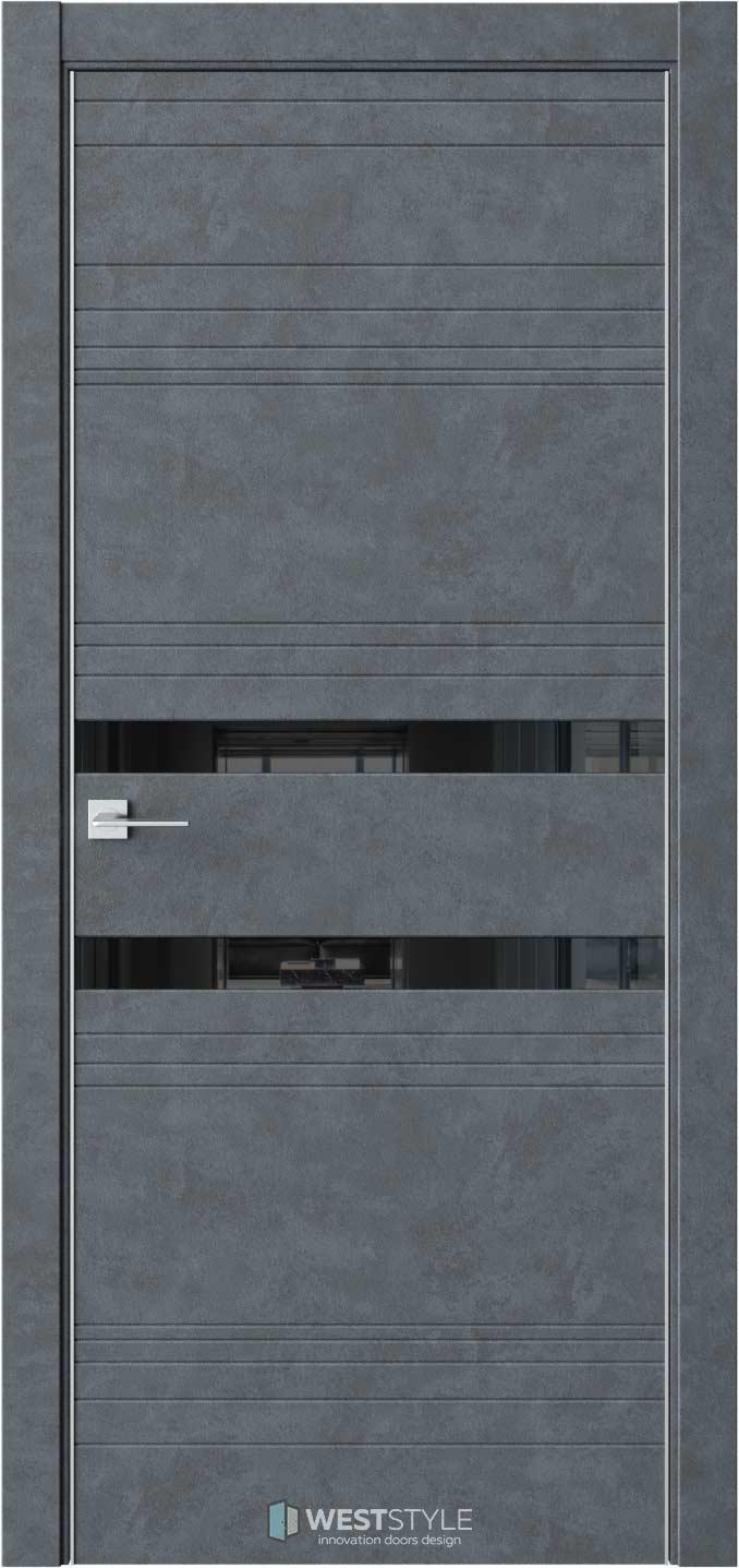 Межкомнатная дверь IN 13 Бетон Маренго черное стекло