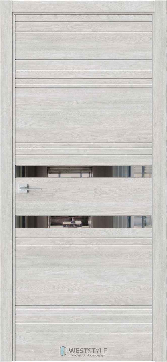 Межкомнатная дверь IN 13 Дуб Оксфорд стекло-зеркало графит