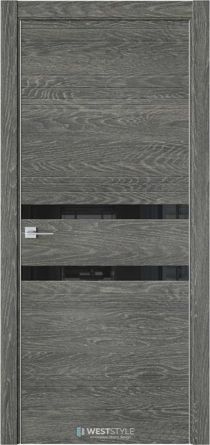 Межкомнатная дверь IN 13 Платинум черное стекло