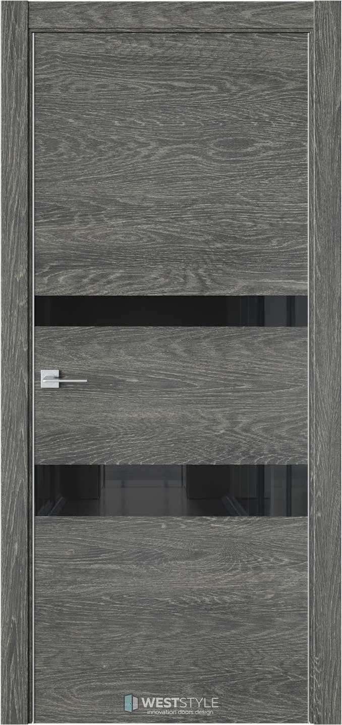 Межкомнатная дверь IN 16 Платинум черное стекло