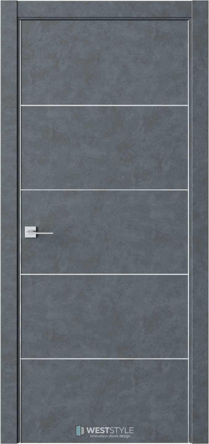 Межкомнатная дверь IN 27 Бетон Маренго черное стекло